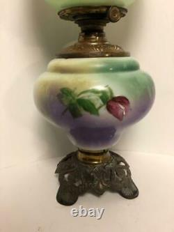Antique Working Victorian GWTW CLIMAX Floral Globe Oil Parlor Table Lamp GC