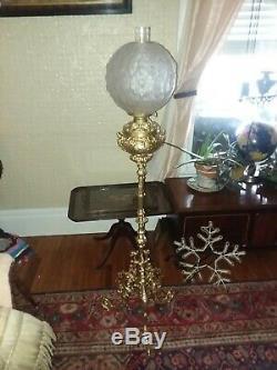 Antique Wrought Iron Piano Floor Oil Lamp