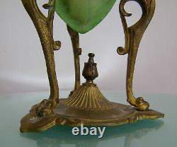 Antique Xix° Baccarat Acid Etched Vaseline Glass Victorian Kerosene Oil Lamp