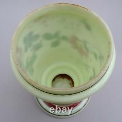 Antique Young's Duplex Oil Lamp Green Opaline Glass with Acid Etched Shade