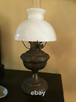Antique aladdin brass oil lamp model # 7 with chimney and shade