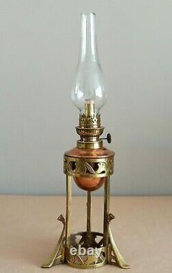 Antique art nouveau oil lamp kerosene lamp copper / brass