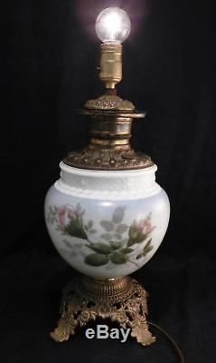 Antique c1880 Gone with the Wind Kerosene Oil LampHand Painted RosesConverted