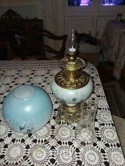 Antique floral Gone With The Wind Hand Painted Parlor Oil Lamp, Victorian