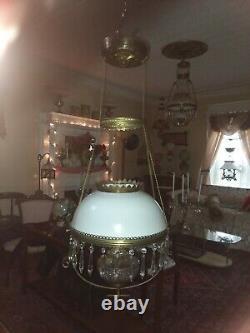 Antique hanging brass oil /kerosene parlor lamp