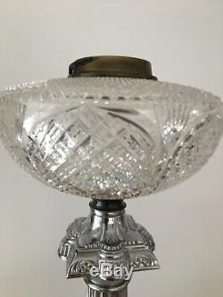 Antique heavy chrome rodium plated large oil lamp base supercut glass fount
