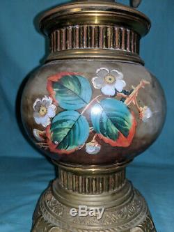 Antique kerosene oil table lamp brass glass painted c. 1885