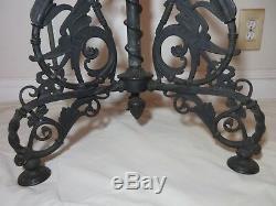 Antique ornate 1878 Victorian Bradley Hubbard B&H cast iron floor oil lamp brass