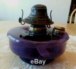 Antique pre1917 PURPLE AMETHYST color Glass Oil Lamp Font Bracket Hanging Parlor