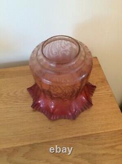 Antique victorian cranberry oil lamp