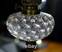 Art Deco Moulded & Optic Glass Kerosene Oil Lamp