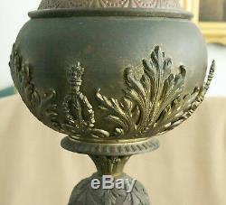 Art Nouveau 1890 Bronze Authentic Tiffany & Co. 954 Oil Lamp Opal Fireglow 29
