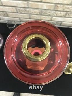 Atq GWTW Cranberry Glass Oil Lamp Corinthian Column Banquet Duplex Burner Parlor