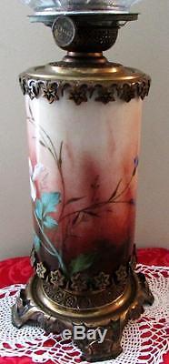 BACCARAT Glass Kerosene Antique Oil Lamp Elegant Hand Painted SIGNED Cast Brass