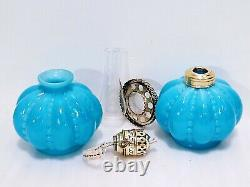 BEADED MELON MINIATURE OPAQUE BLUE MILK GLASS OIL KEROSENE LAMP ANTIQUE complete