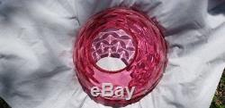 B & H HANGING PARLOR LAMP withPINK WAFFLE OPAQUE FONT & CRANBERRY BULLSEYE SHADE