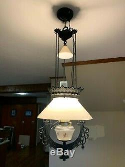 Beautiful Antique Hanging Victorian Cast Iron Horse Lamp