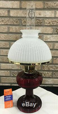 Beautiful Antique Ruby Red Beehive Aladdin Model 23 Oil Lamps 1937-38