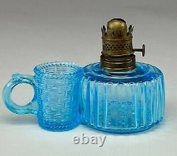 Beautiful & Scarce Antique Miniature Sapphire Blue Match Holder Finger Lamp