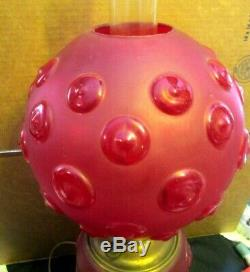 Beautiful Tall Antique Red Satin Glass Bullseye Pattern Gone With The Wind Lamp