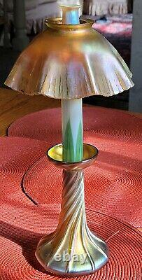 Beautiful Tiffany Favrile Glass Candle Oil Lamp Antique Original LCT Signed