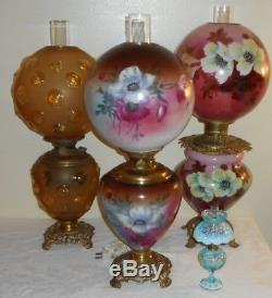 Big Ca. 1890s Brown Purple Poppies Pittsburgh GWTW Oil Lamp & Matching Ball Shade