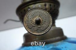 Blue And White Glass Press Mould Antique Kerosene Oil Table Lamp