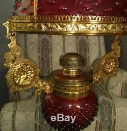 Bradley & Hubbard Retracting Library Oil Lamp Cranberry 14 Hobnail Shade RARE