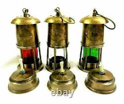 Brass Maritime Boat Light Minor Oil Lamp Antique Nautical Ship Lantern Set of 3