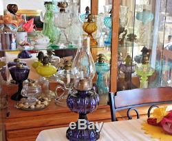 C1911 Antique Eapg Purple Amethyst Thumbprint Panel Kerosene Oil Lamp Gorgeous