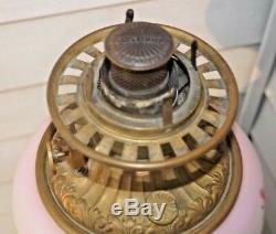 COLLECTORS BEAUTY 1890s Fostoria GWTW Kerosene Oil Lamp With Shade BRASS BASE