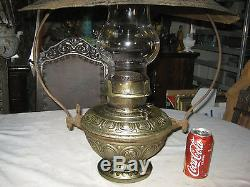 C 1890 Antique Bradley Hubbard Hanging Country Porch Oil Lamp Sconce Shade Light