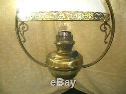 Ceiling Pendant Brass Oil Lamp Cowl Glass Vintage Antique Light Fitting