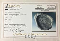 Certified Chumash Oil Lamp Steatite Santa Barbara, California Bennett COA