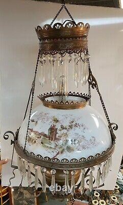 Circa 1890 Bradley & Hubbard Brass/Opaline Glass Electrified Hanging Oil Lamp
