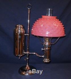 Complete 1890's Nickel Miller Pink Hobnail Opalescent Student Oil Lamp