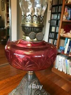 Cranberry Glass Kerosene/Oil Lamp/Brass Base