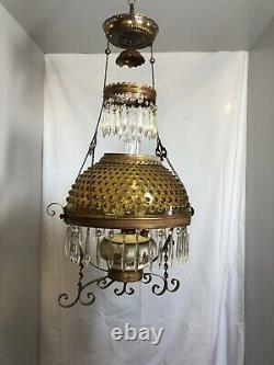 Dated 1892 Victorian Hanging Parlor Oil Lamp With Prisms & Amber Hobnail Shade