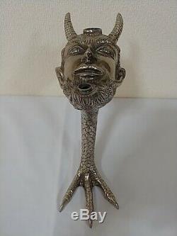 Devil Oil Lamp Satyr Lighter Head Brass Antique Rare Claw foot Figural Vintage