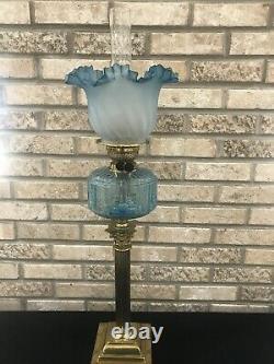 Duplex GWTW Sapphire Blue Glass Oil Lamp Corinthian Column Banquet Lamp Parlor