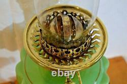 Duplex Oil Lamp. Green Hand Painted Font. Brass & Ceramic Base. Falks Burner