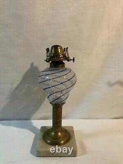 Early blue five white stripe Sandwich Glass or similar kerosene oil lamp burner