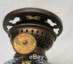 FINE ANTIQUE CLOISONNE OIL LAMP w GOLD DRAGON SHADE, Kosmos Burner, Super Nice