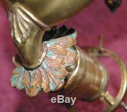 Fabulous Pair 1910-20's era Egyptian Woman & Oil Lamp Electric Wall Sconces
