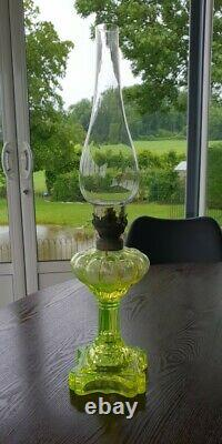French Antique VASELINE glass Oil Lamp