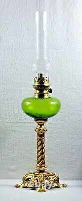 French Apple Green Optic Glass With Ornate Spelter Base Kerosene Oil Lamp