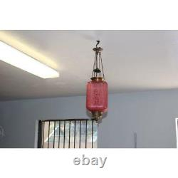 French Art Nouveau / Art Deco Pink Oil Lantern Or Pendant Signed By''BACCARAT'