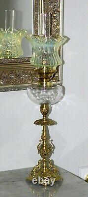 French Clear + Ornate Brass + Ruffled Uranium Swirl Shade Peg Kerosene Oil Lamp