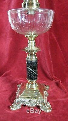 French Crystal Baccarat Table Oil Lamp Parlor G. W. T. W Antique Kerosene Large