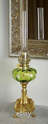 French Green Enamelled + Tripodal Winged Lions Kerosene Oil Lamp
